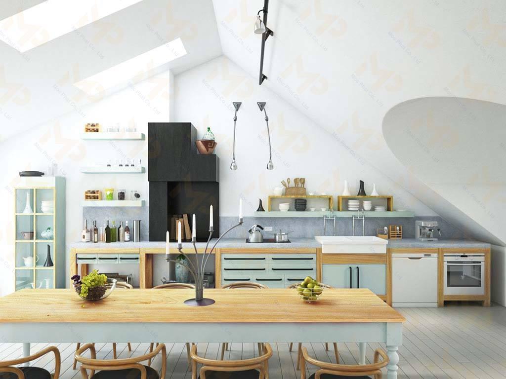 MFC màu pastel cho không gian bếp