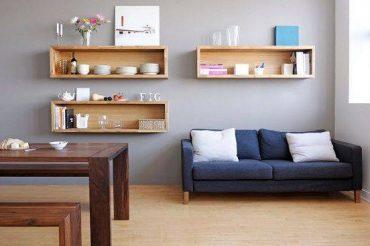 Những mẫu kệ treo tường bằng gỗ công nghiệp cho phòng khách thật ấn tượng