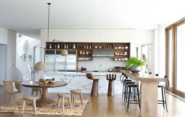 Kệ bếp cho căn hộ từ gỗ công nghiệp