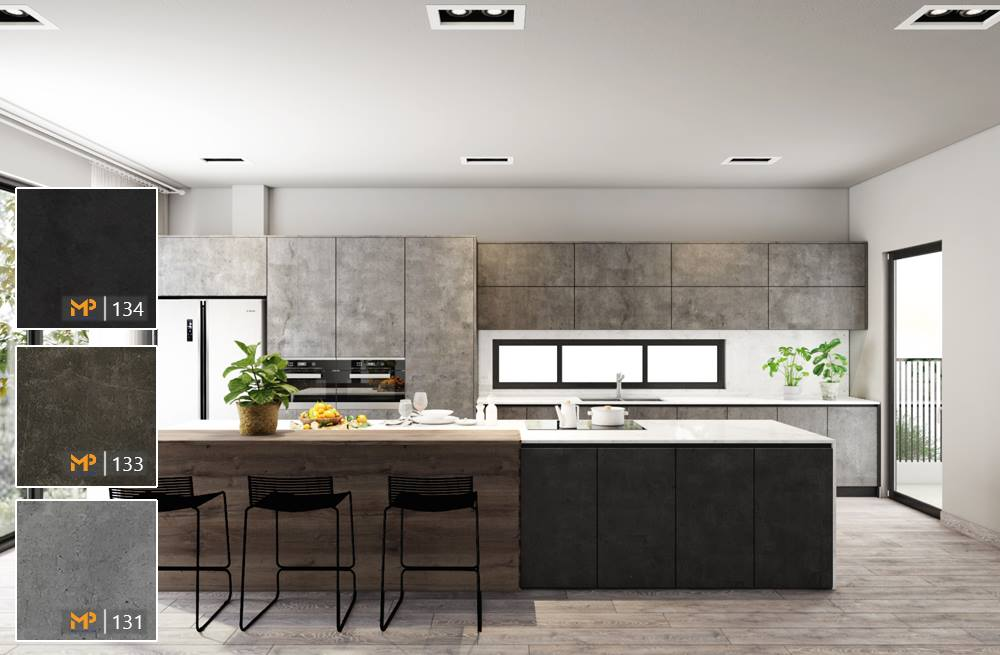 Không gian bếp đẹp hài hoà cùng 3 sắc độ MFC vân đá