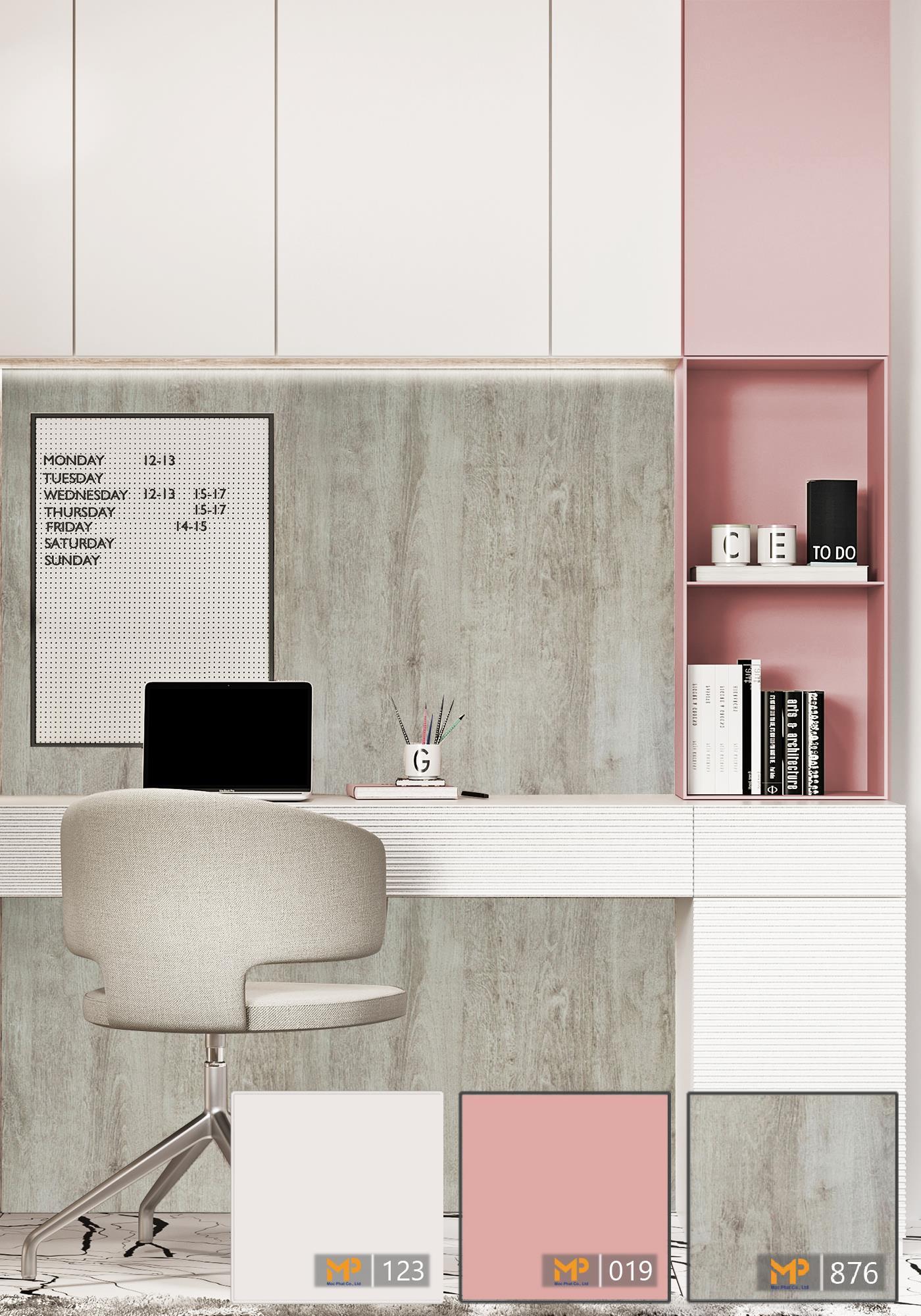 Không gian phòng làm việc dịu dàng với MFC hồng pastel