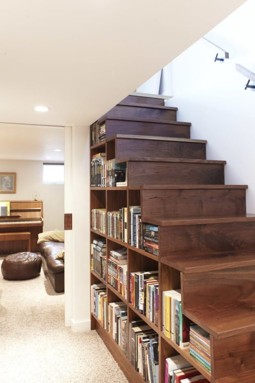 Những mẫu cầu thang kiêm tủ sách bằng gỗ công nghiệp đầy sáng tạo và tiện lợi 1