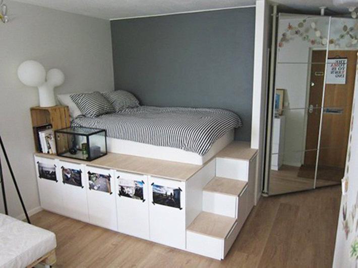 Biến tấu nội thất gỗ công nghiệp trong phòng ngủ chỉ 8m2