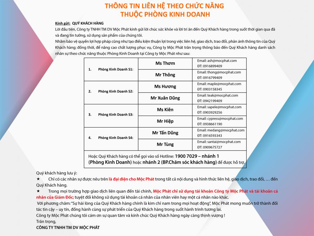 Thông báo liên hệ theo chức năng thuộc phòng Kinh Doanh 3