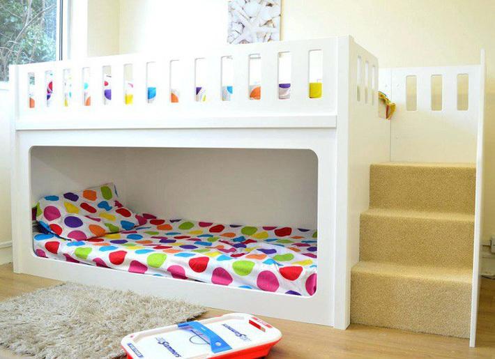 Giường tầng gỗ công nghiệp vừa đẹp, vừa tiện cho gia đình đông con 5