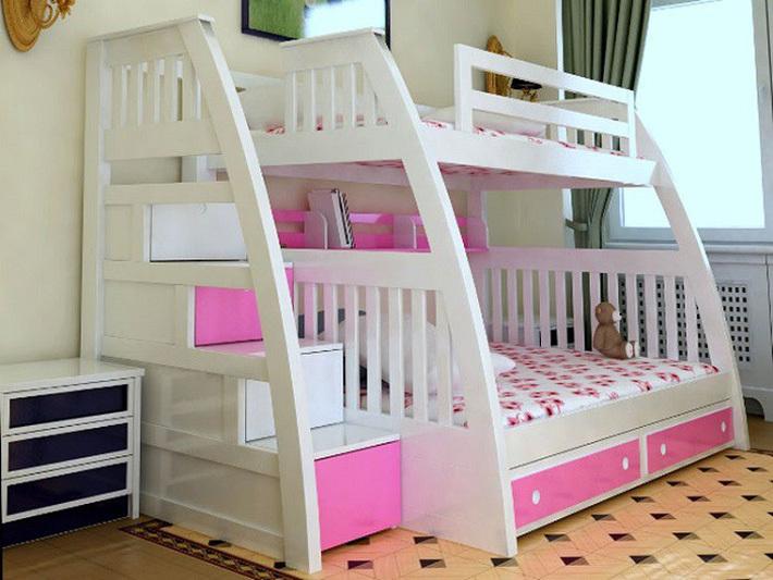 Giường tầng gỗ công nghiệp vừa đẹp, vừa tiện cho gia đình đông con 2