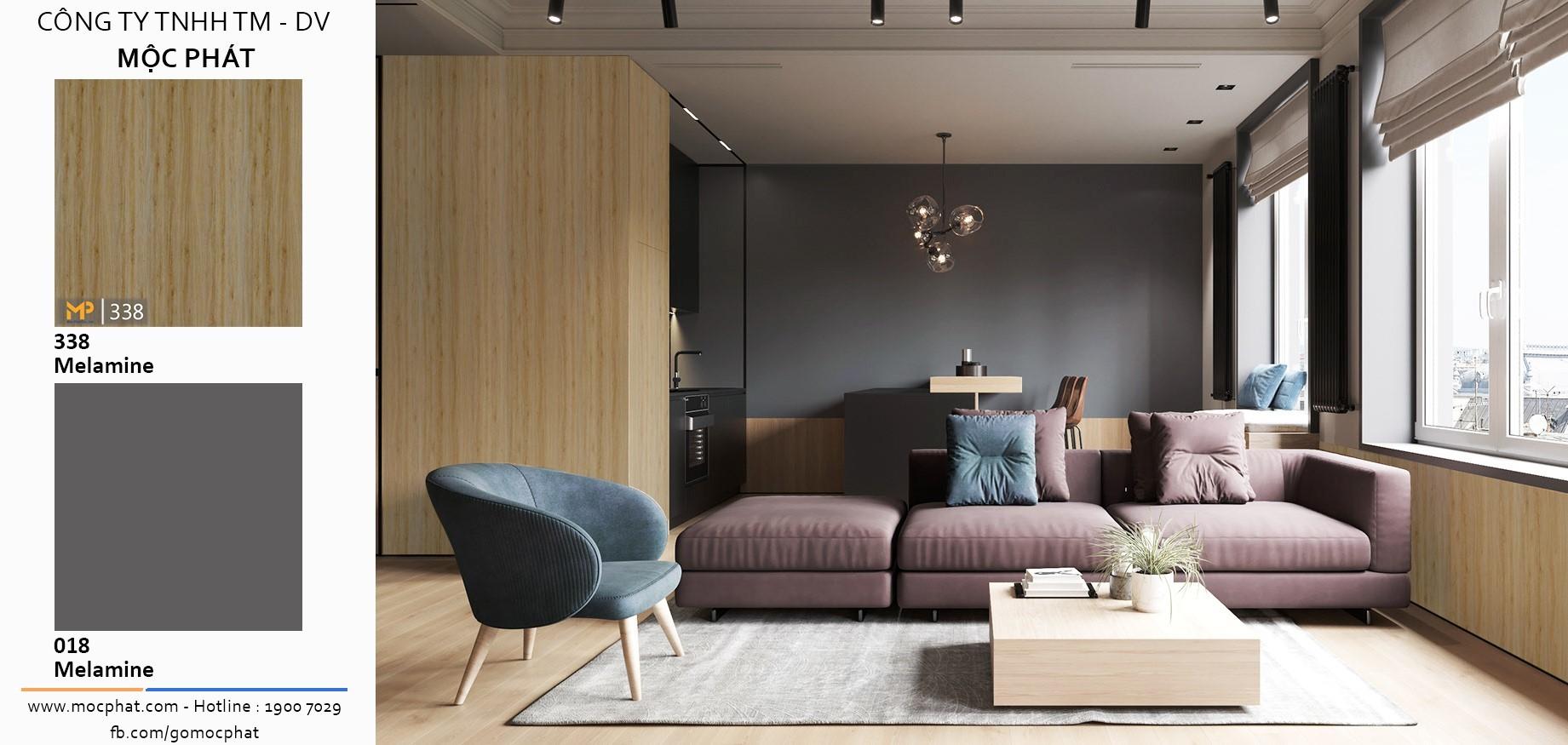Không chỉ trang trí, sự kết hợp giữa MFC vân gỗ và đơn sắc còn giúp phân chia không gian thật tinh tế