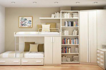 Giường tầng gỗ công nghiệp vừa đẹp, vừa tiện cho gia đình đông con