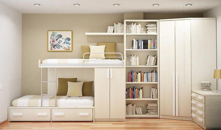 Giường tầng gỗ công nghiệp vừa đẹp, vừa tiện cho gia đình đông con 3