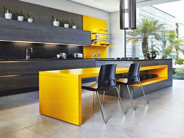 Ứng dụng MDF phủ Melamine: Không gian đầy sức trẻ với màu vàng cam