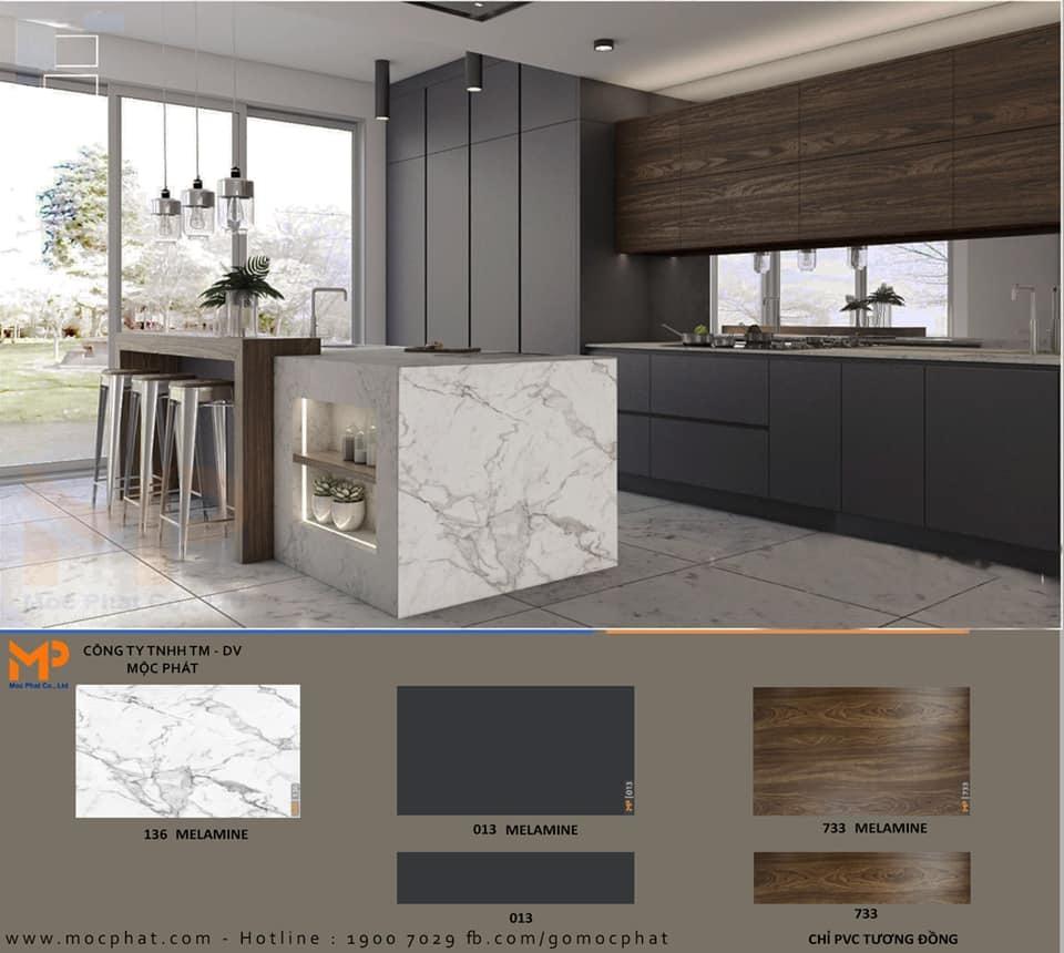 Không gian bếp đầy mê hoặc với sự kết hợp giữa ván phủ melamine vân đá, vân gỗ và đơn sắc