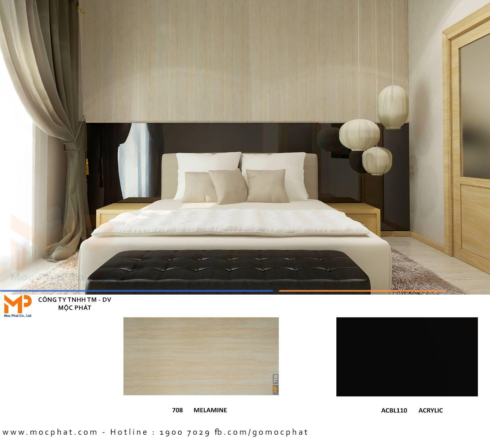 Những không gian phòng ngủ ứng dụng ván phủ Acrylic đẹp ngây người