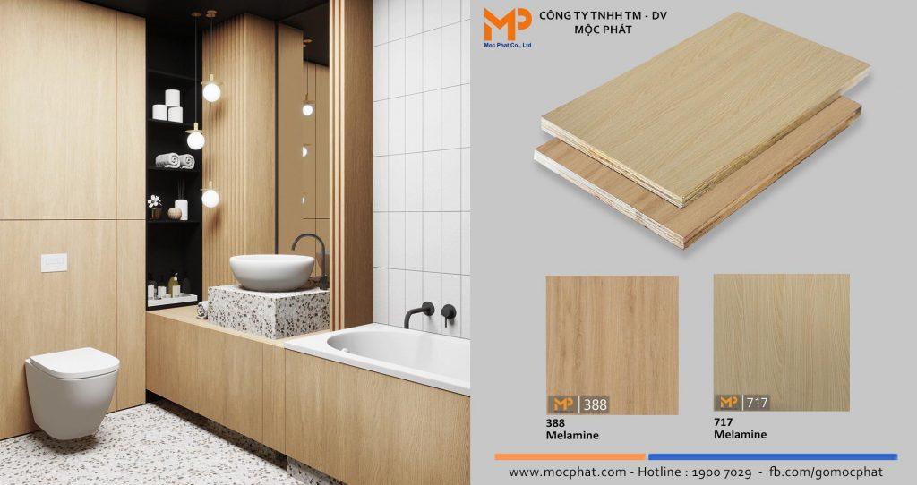Plywood phủ melamine vân gỗ nhạt