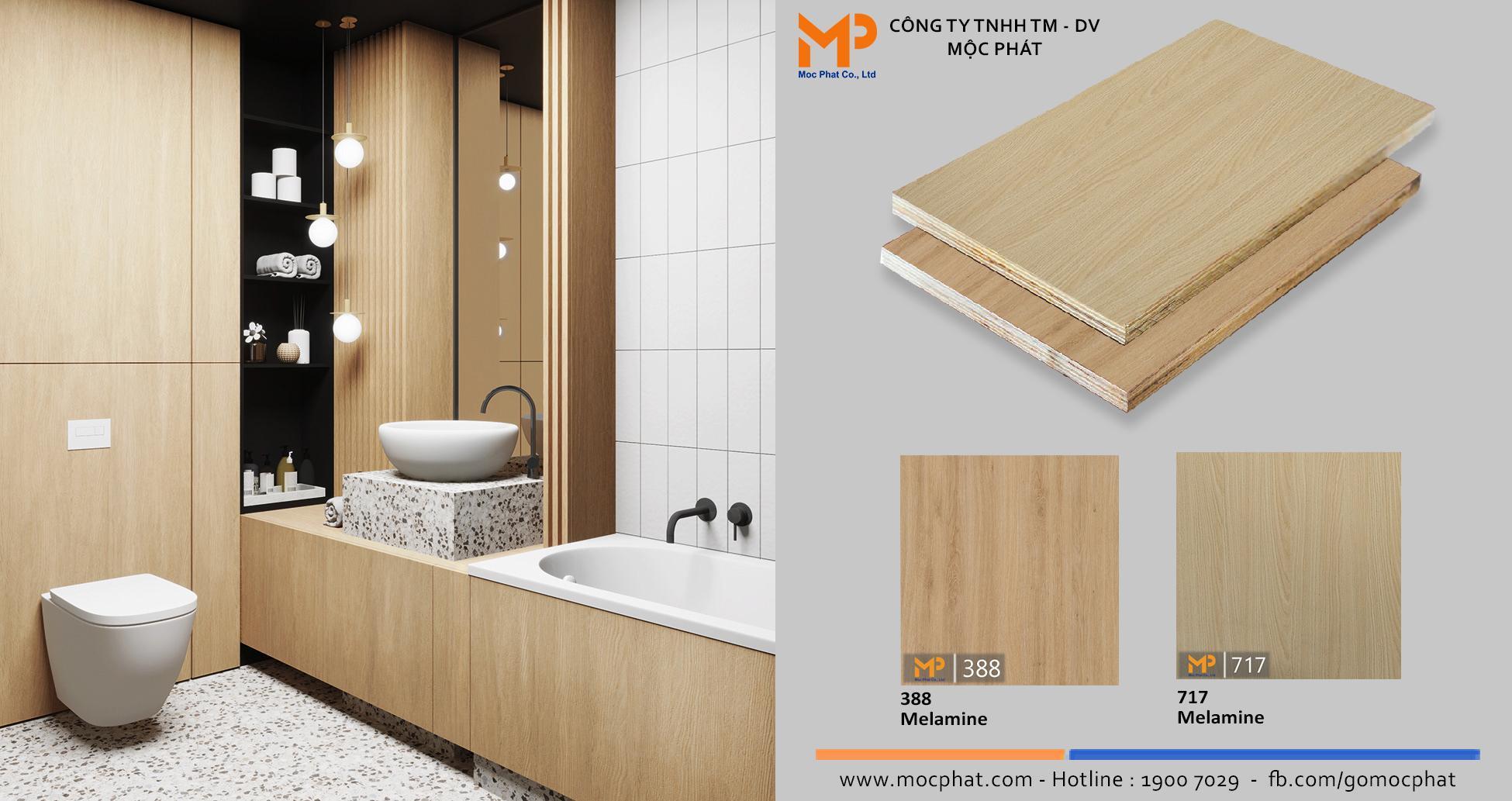 Plywood phủ Melamine vân gỗ: Mở ra không gian phòng vệ sinh hút mọi ánh nhìn