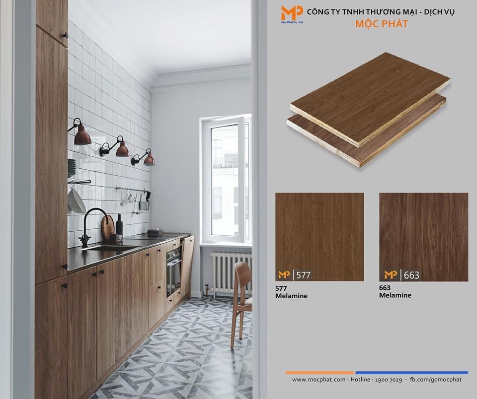 Plywood phủ Melamine vân gỗ nâu: Vật liệu đúng chuẩn cho gian bếp