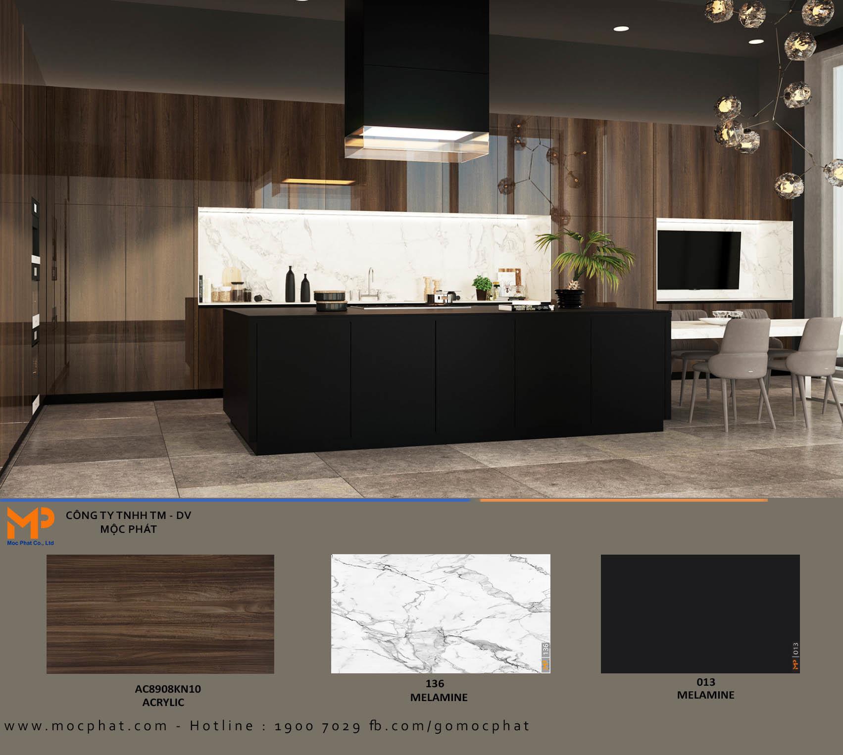 Ứng dụng Acrylic vân gỗ vào gian bếp: Sự lựa chọn không thể hoàn hảo hơn