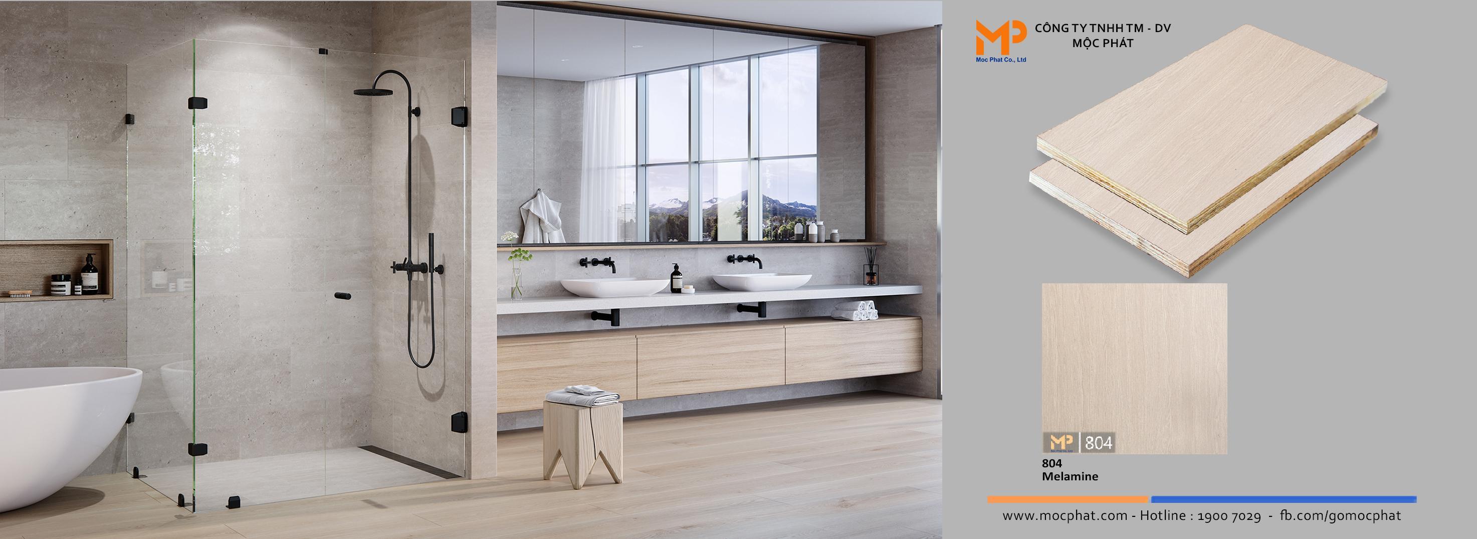Thách thức nước với Plywood phủ melamine vân gỗ dùng trong phòng tắm