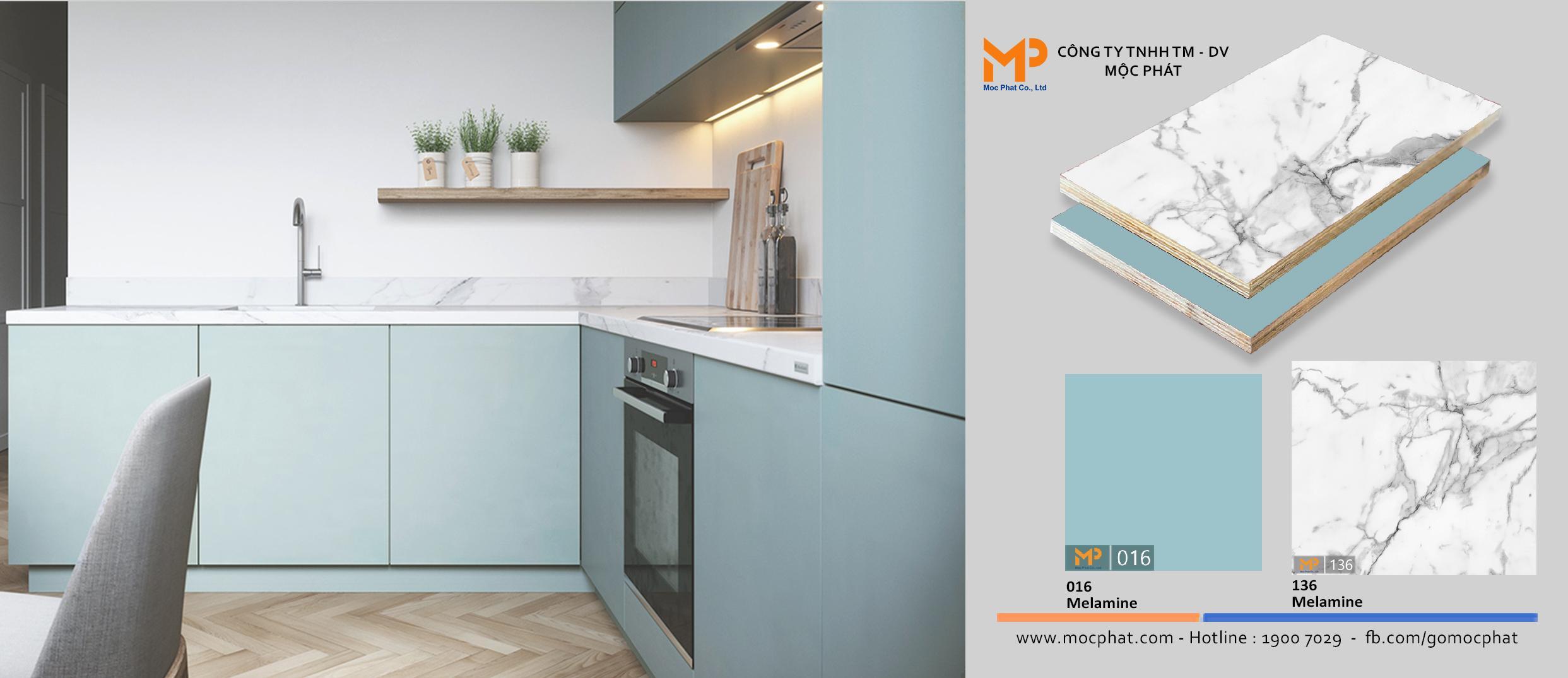 Sự kết hợp giữa Plywood phủ melamine màu pastel và vân đá cho không gian thêm phần thanh lịch