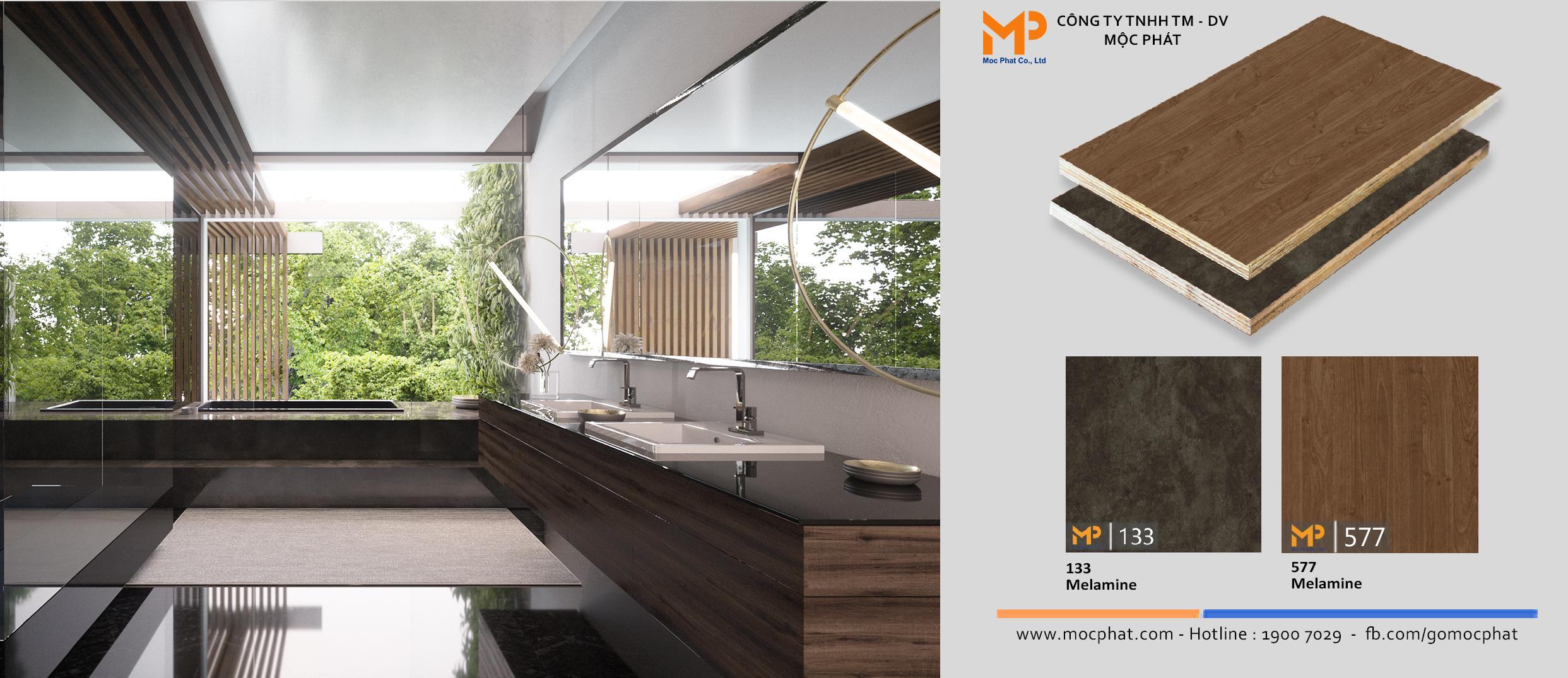 Plywood phủ melamine: Giải pháp cho những không gian ẩm ướt