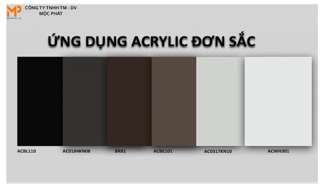 Bộ mẫu acrylic đơn sắc