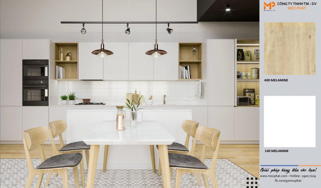 gỗ ép tâm - Ứng dụng plywood phủ melamine nội thất bếp