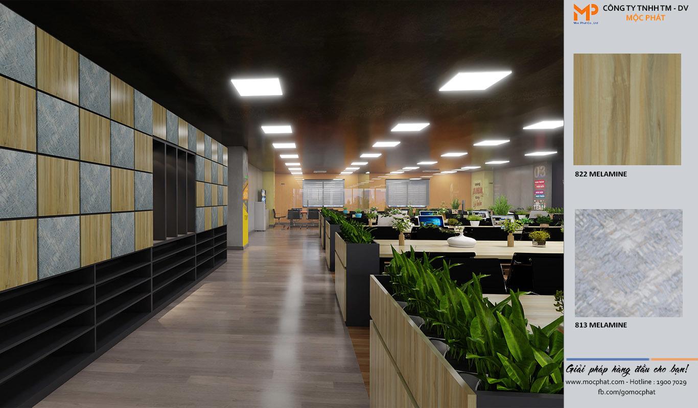 MDF phủ melamine ứng dụng trong nội thất văn phòng