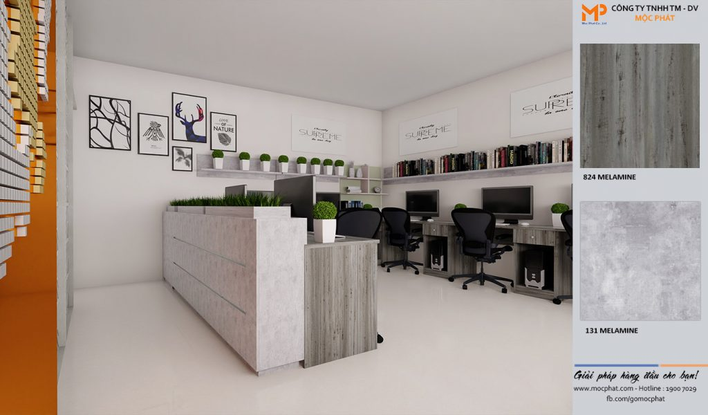Ứng dụng nội thất văn phòng - mdf phủ melamine