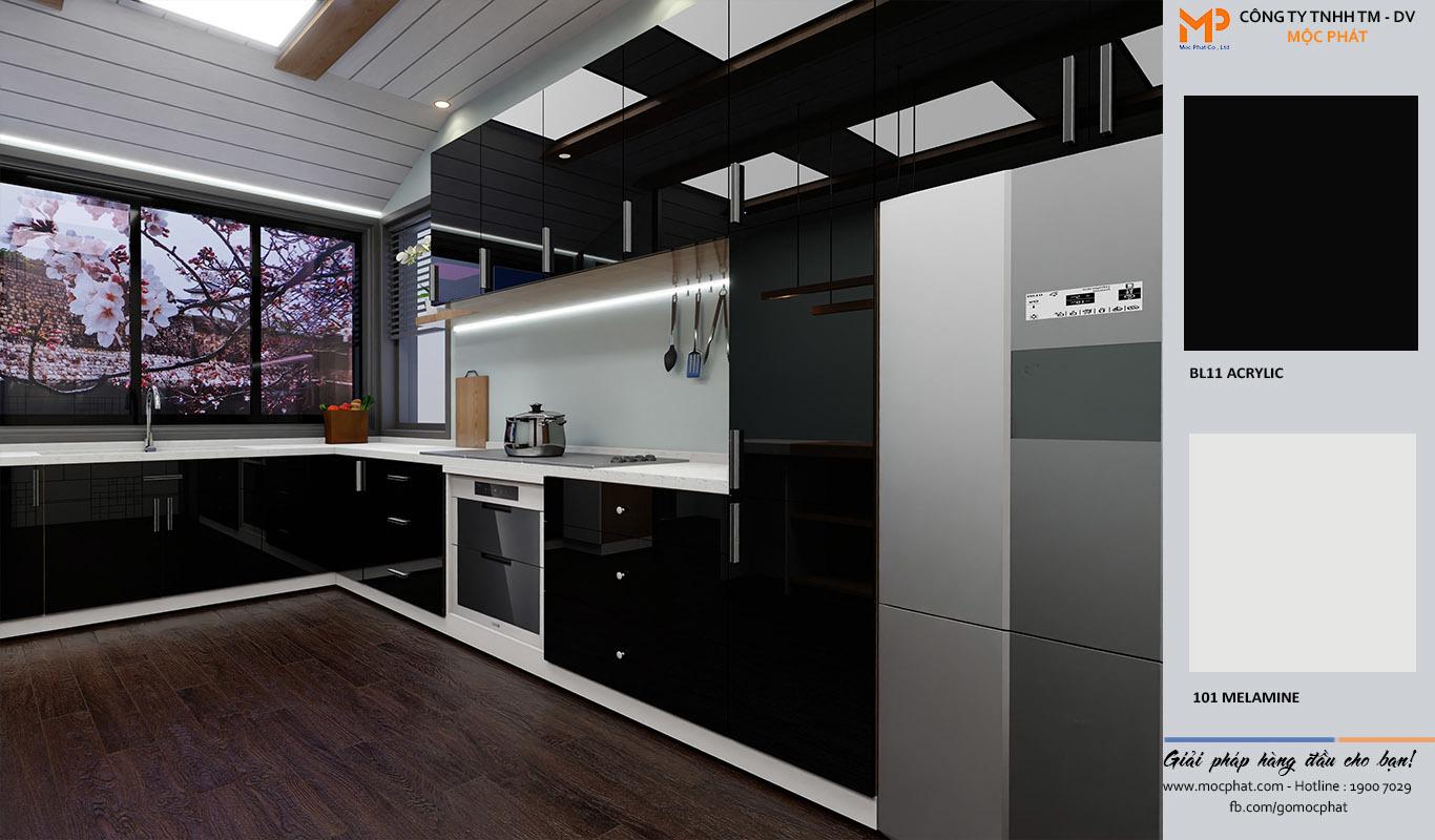 Tủ bếp gỗ Acrylic – Nội thất bếp sang trọng cho thiết kế hiện đại