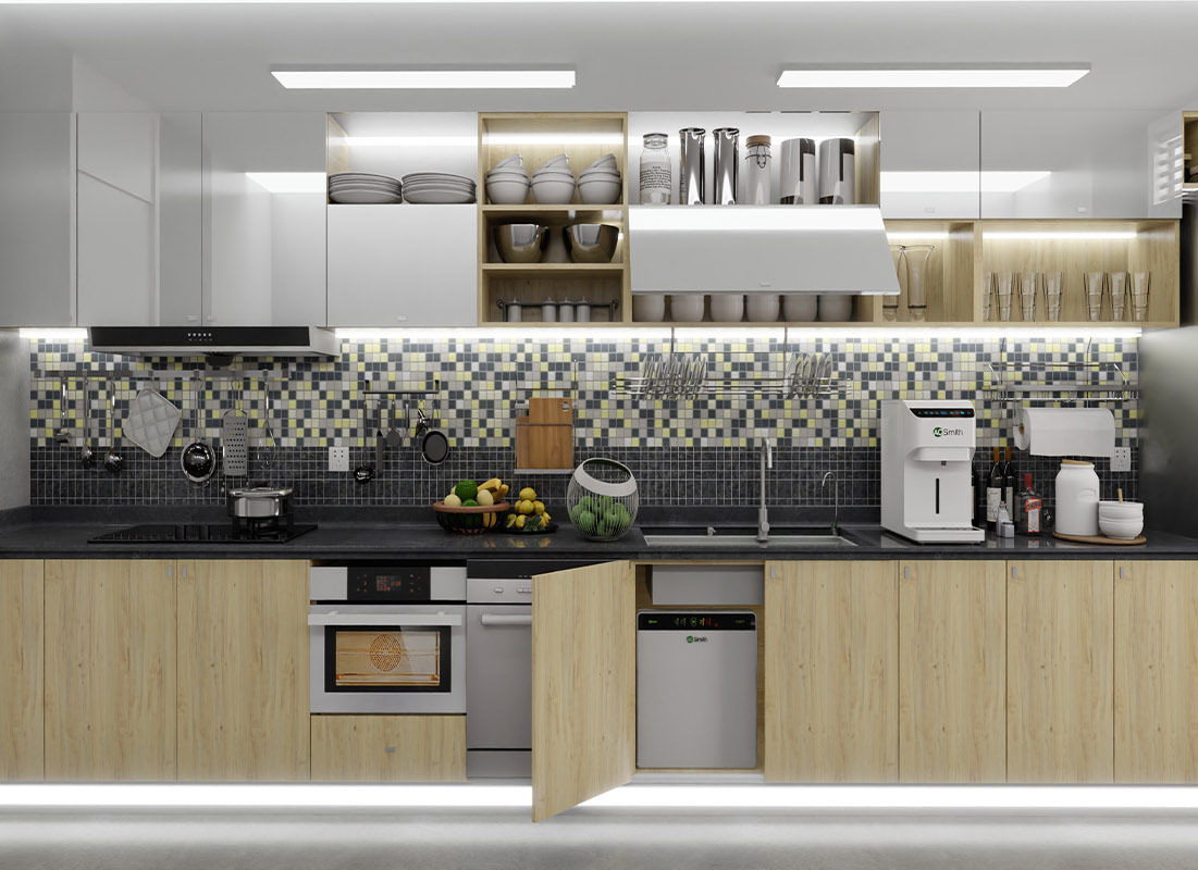 Tủ bếp ván ép lywood phủ venneer