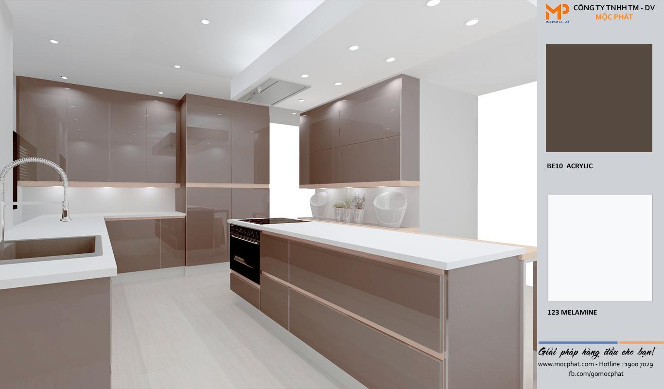Thiết kế tủ bếp đẹp ván acrylic chữ L từ ván Mộc Phát 2