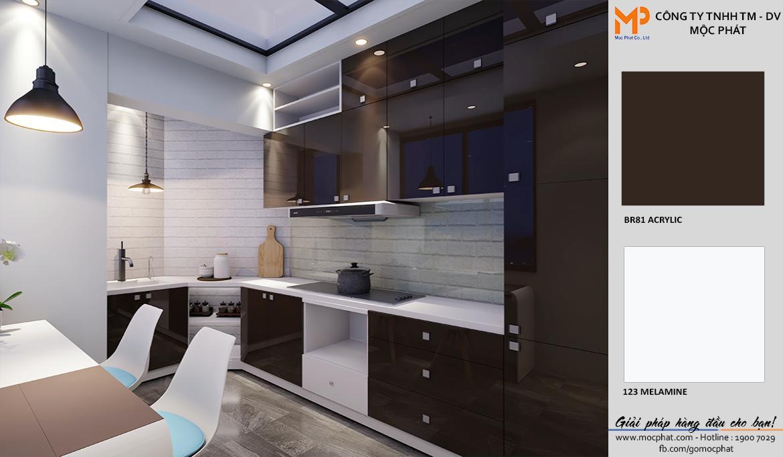Thiết kế tủ bếp đẹp ván acrylic chữ L từ ván Mộc Phát 1