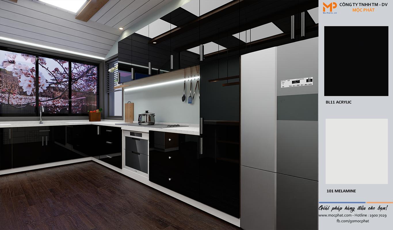 Thiết kế tủ bếp đẹp ván acrylic chữ L từ ván Mộc Phát
