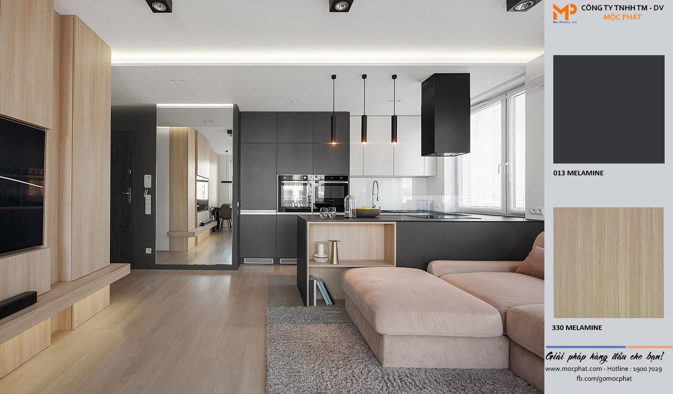 Nội thất phòng khách liền phòng bếp cho nhà thêm không gian mở 3