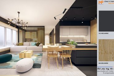 Nội thất phòng khách liền phòng bếp cho nhà thêm không gian mở